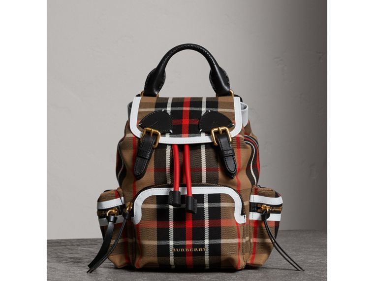 The Small Rucksack in Check Cotton and Leather in Caramel - Women | Burberry - cell image 4