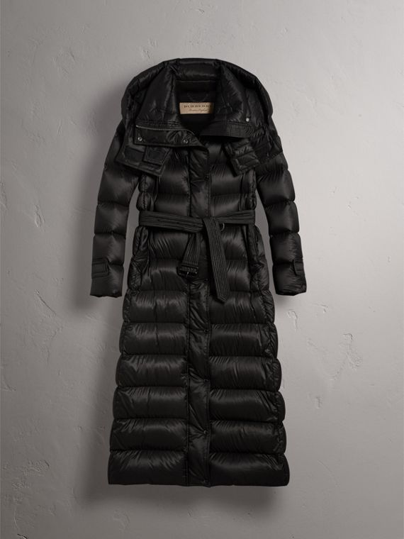 Detachable Hood Long Down-filled Puffer Coat in Black - Women | Burberry Australia - cell image 3