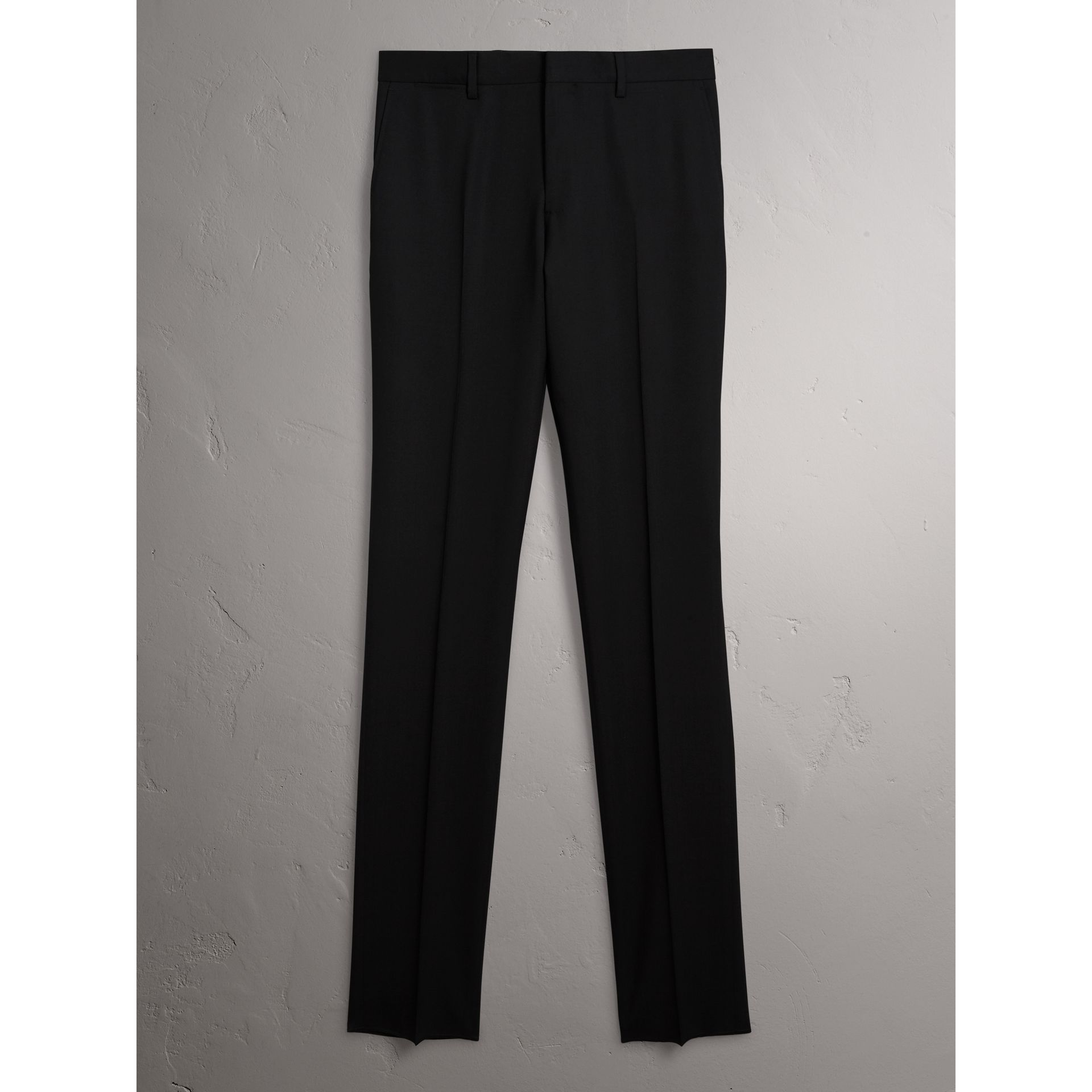 Slim Fit Wool Trousers in Black - Men | Burberry United States - gallery image 3