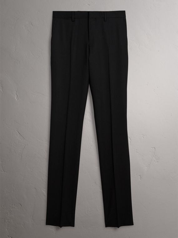 Slim Fit Wool Trousers in Black - Men | Burberry - cell image 3