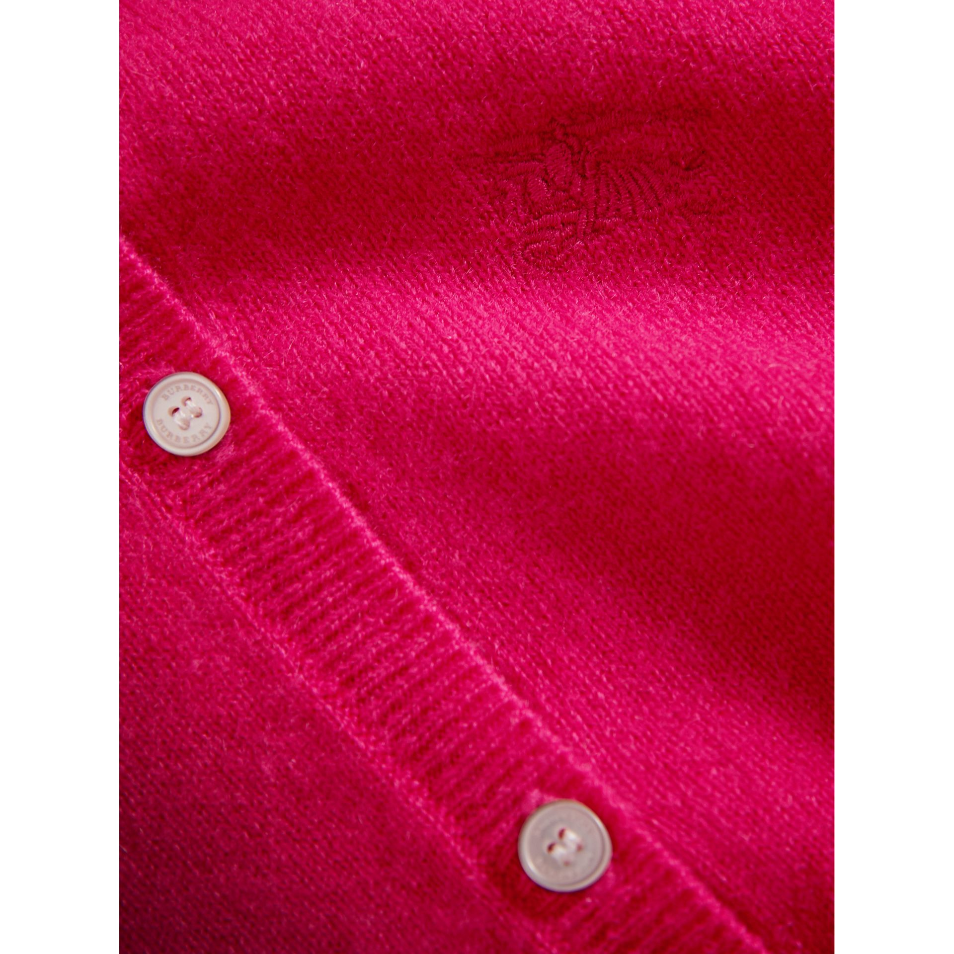 Check Cuff Cashmere Cardigan in Bright Crimson Pink - Girl | Burberry - gallery image 2