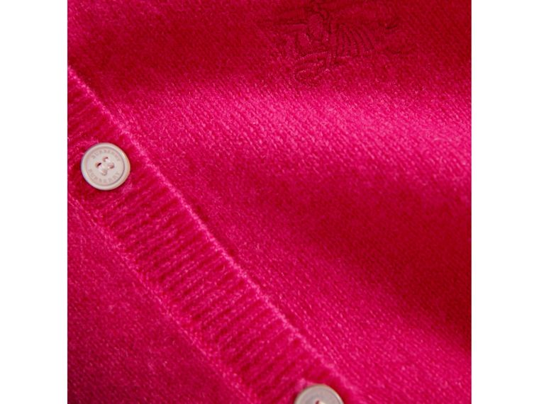 Check Cuff Cashmere Cardigan in Bright Crimson Pink - Girl | Burberry - cell image 1