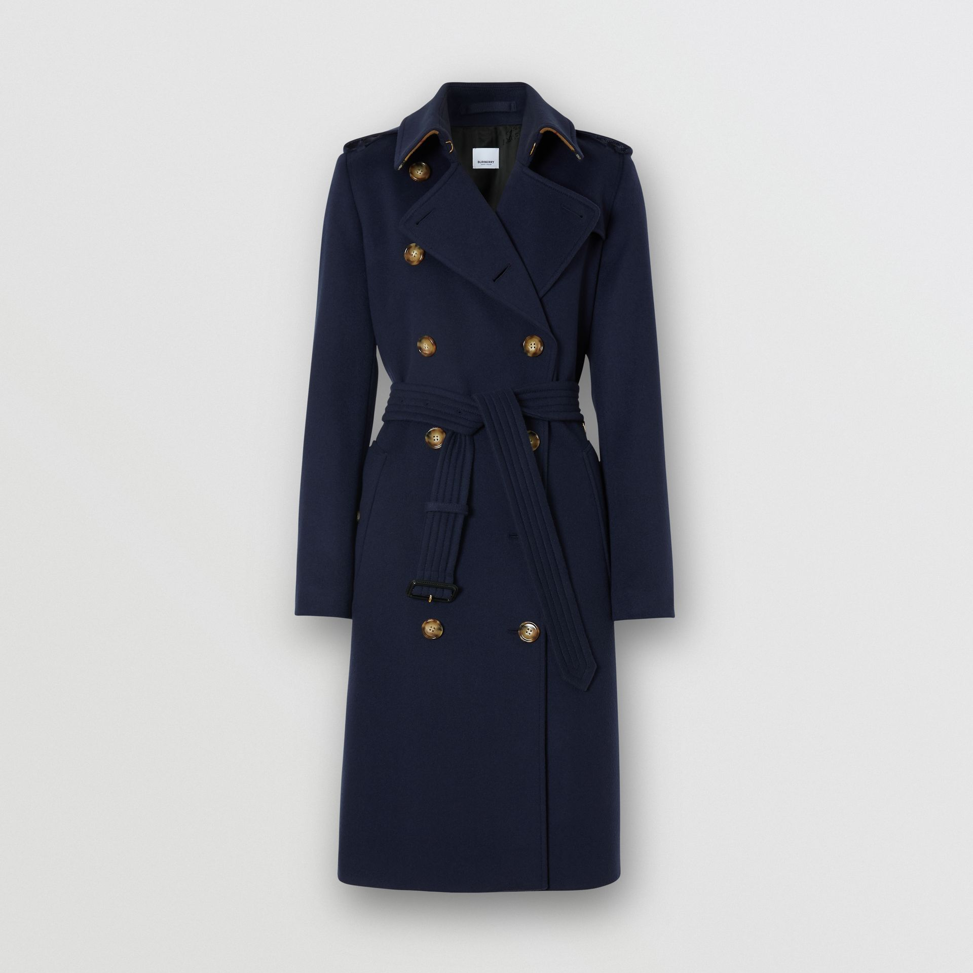Cashmere Trench Coat in Navy - Women | Burberry - gallery image 3