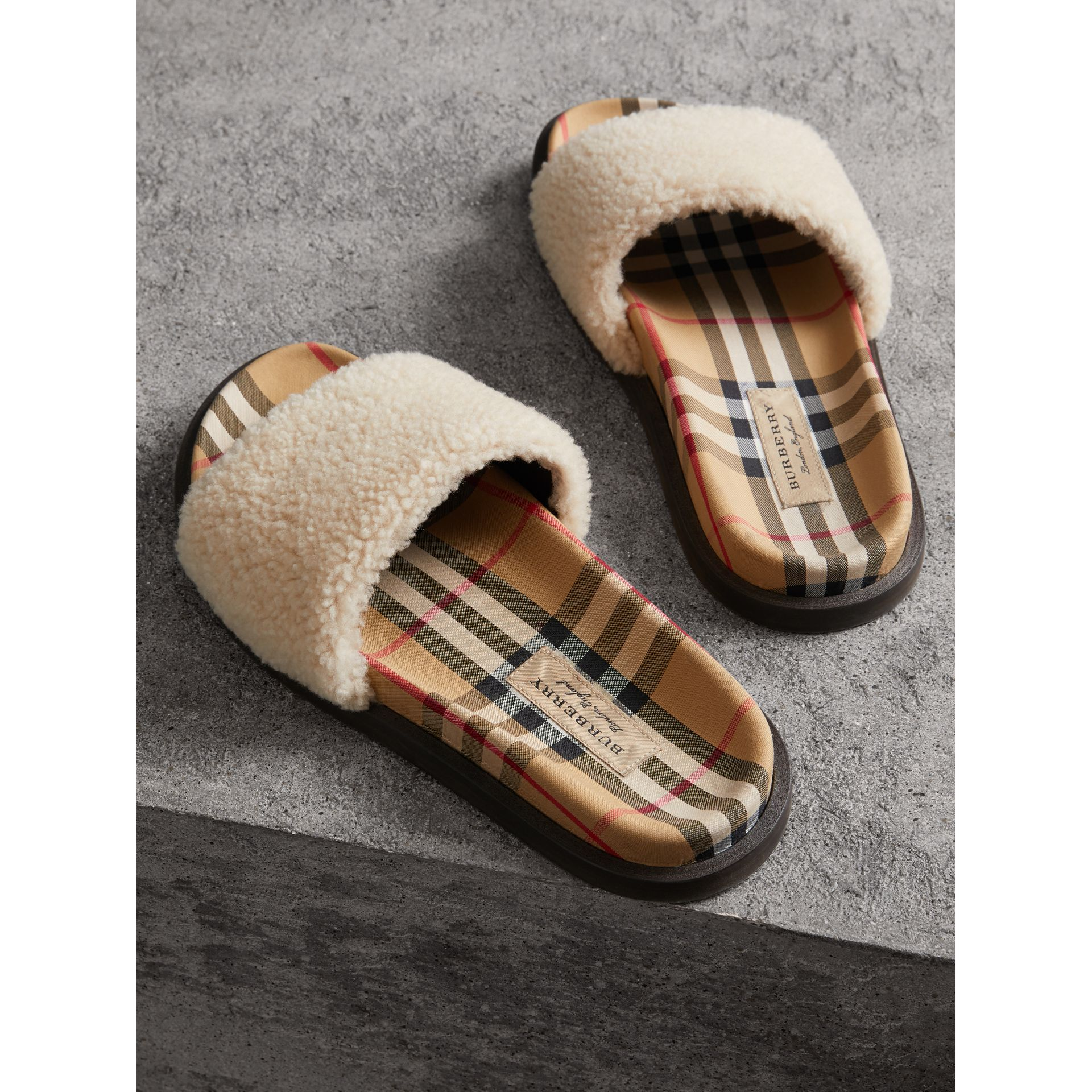 Shearling and Vintage Check Slides in Natural - Women | Burberry Australia - gallery image 3