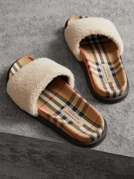 Shearling and Vintage Check Slides in Natural - Women | Burberry - cell image 3