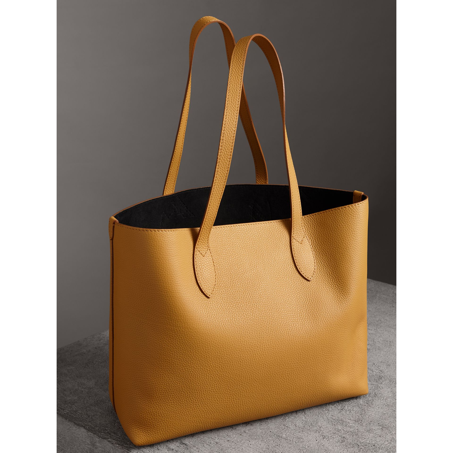 Embossed Leather Tote in Ochre Yellow | Burberry Hong Kong - gallery image 4
