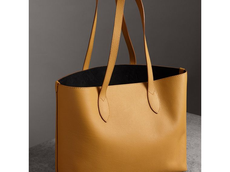 Embossed Leather Tote in Ochre Yellow | Burberry United Kingdom - cell image 4