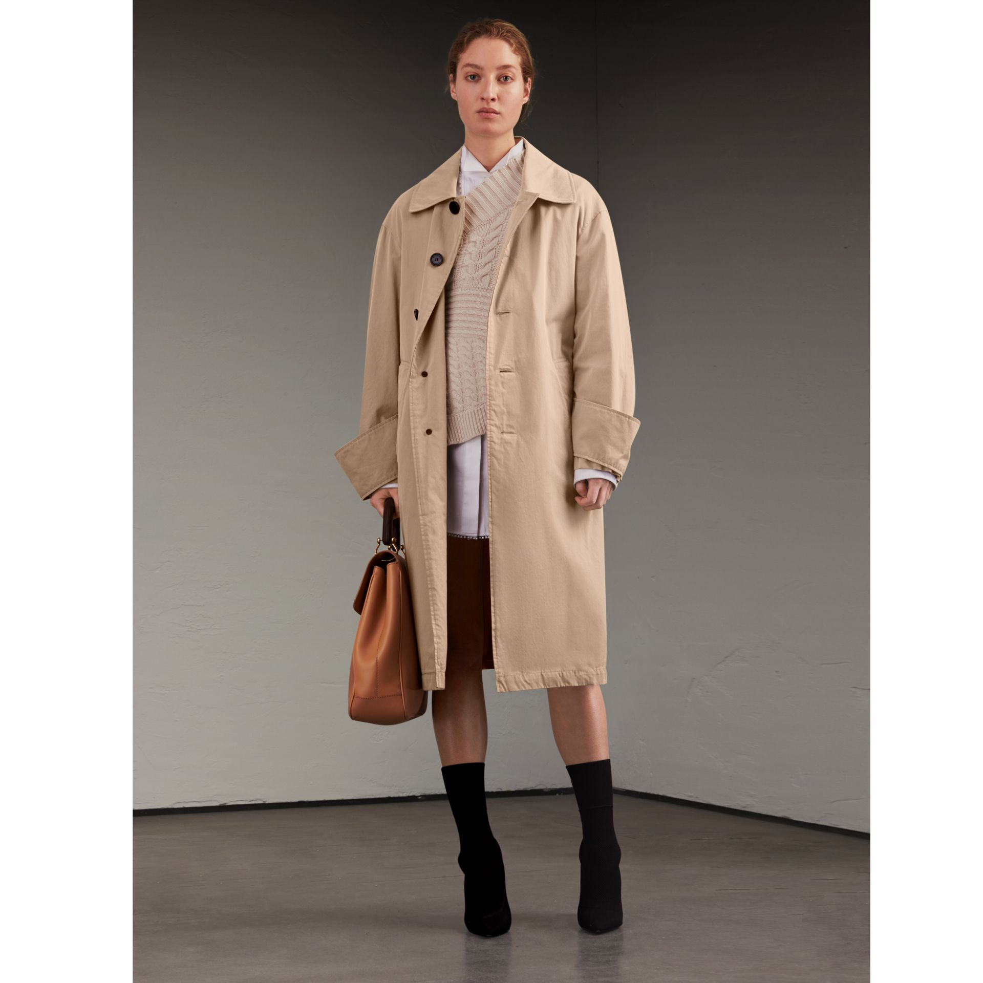 Unisex Tropical Gabardine Car Coat with Exaggerated Cuffs in Light Taupe - Women | Burberry - gallery image 1