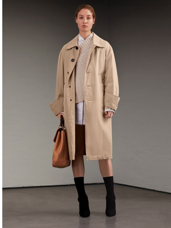 Unisex Tropical Gabardine Car Coat with Exaggerated Cuffs