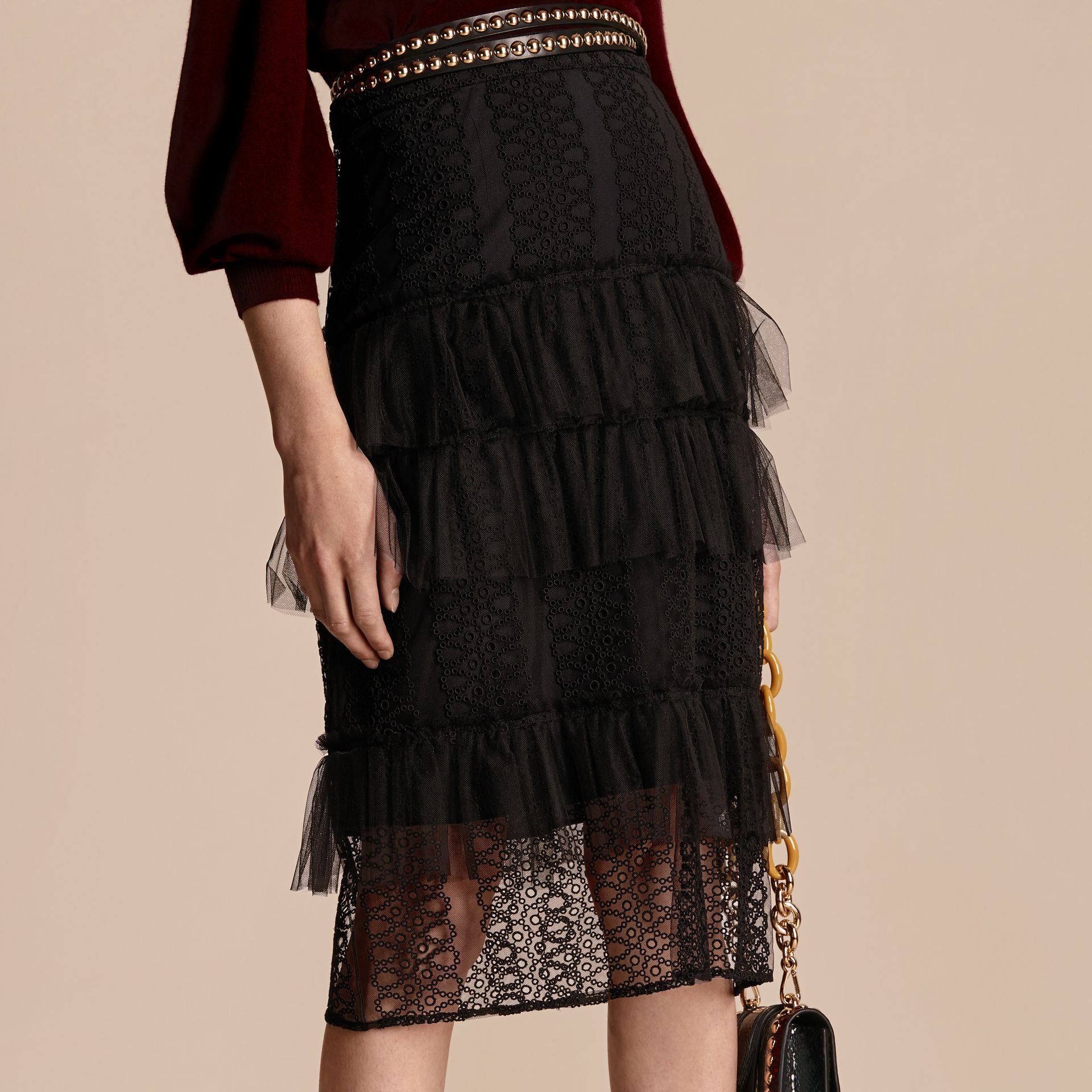 Black Tiered Braided Tulle Column Skirt with Ruffles - gallery image 5