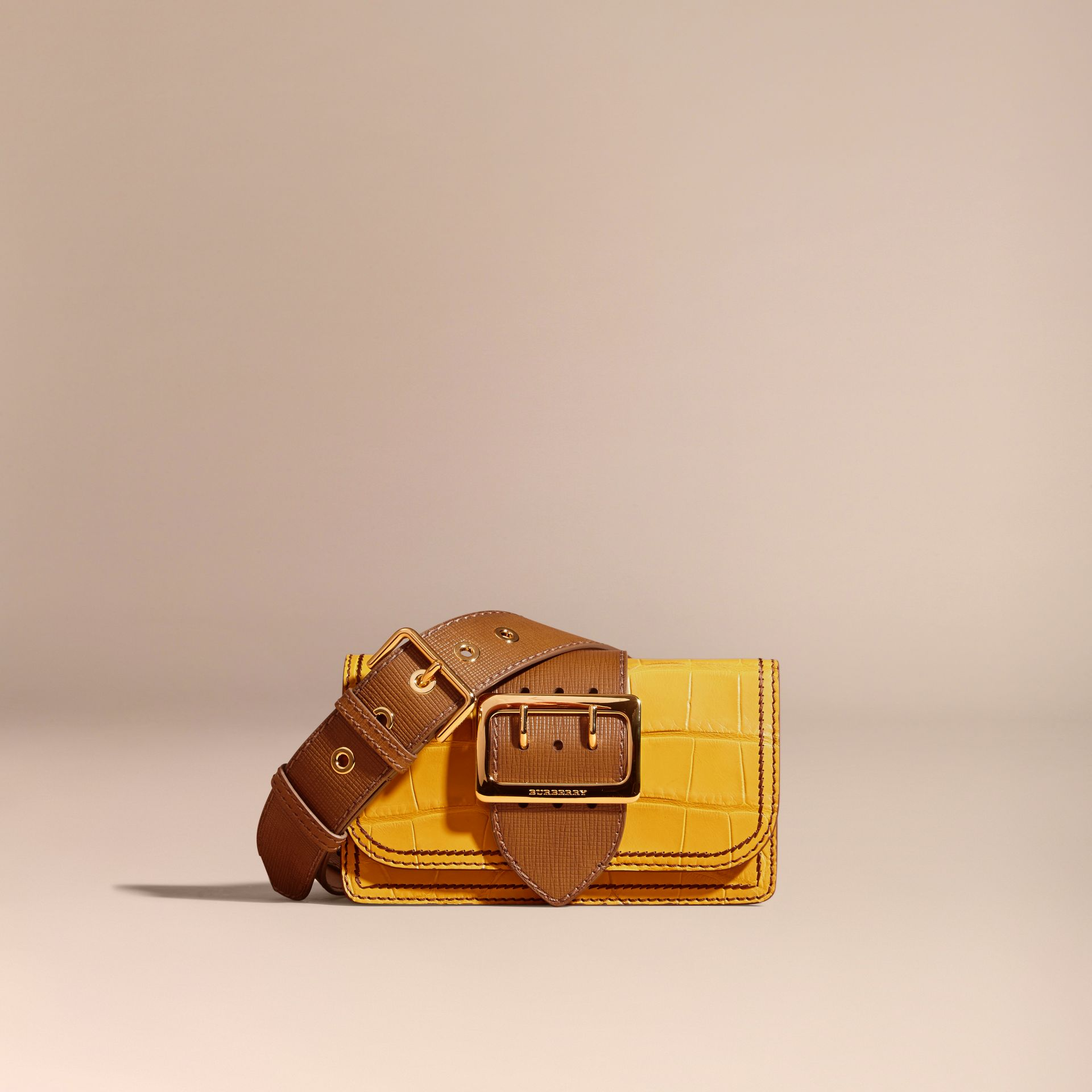 The Small Buckle Bag in Alligator and Leather Citrus Yellow / Tan - gallery image 9