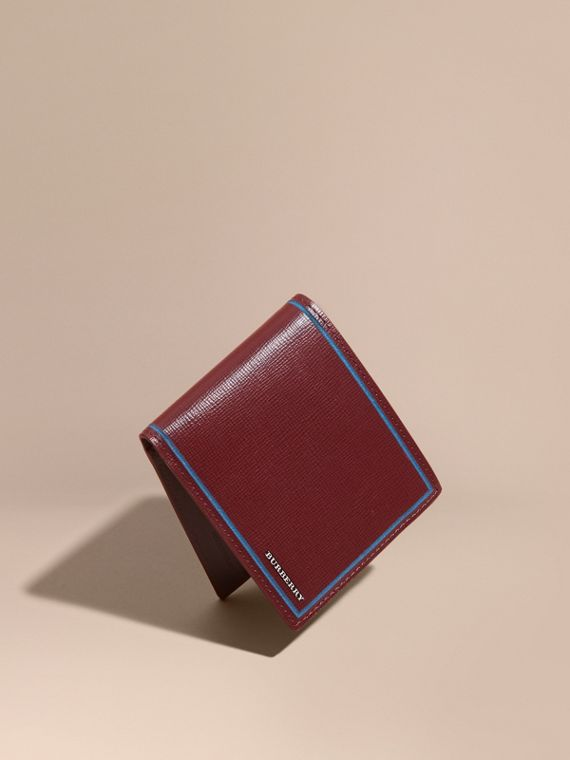 Border Detail London Leather Folding Wallet Burgundy Red