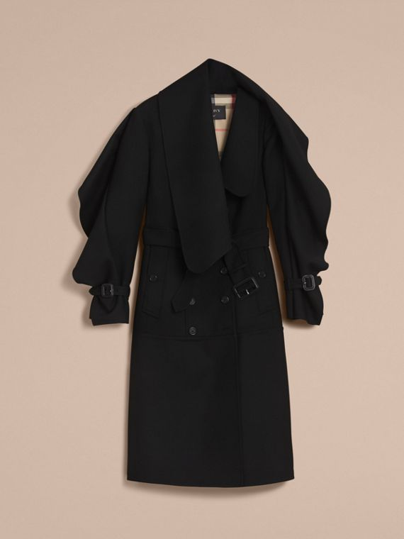 Cappotto asimmetrico in leggero twill di lana double face - Donna | Burberry - cell image 3