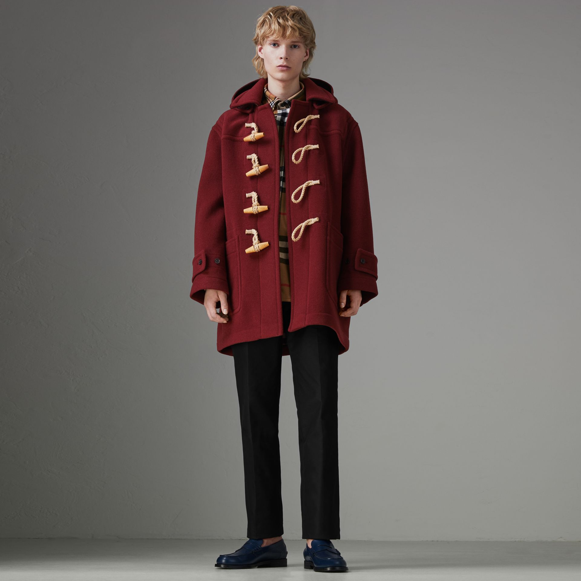 Gosha x Burberry Oversized Duffle Coat in Claret | Burberry United Kingdom - gallery image 0