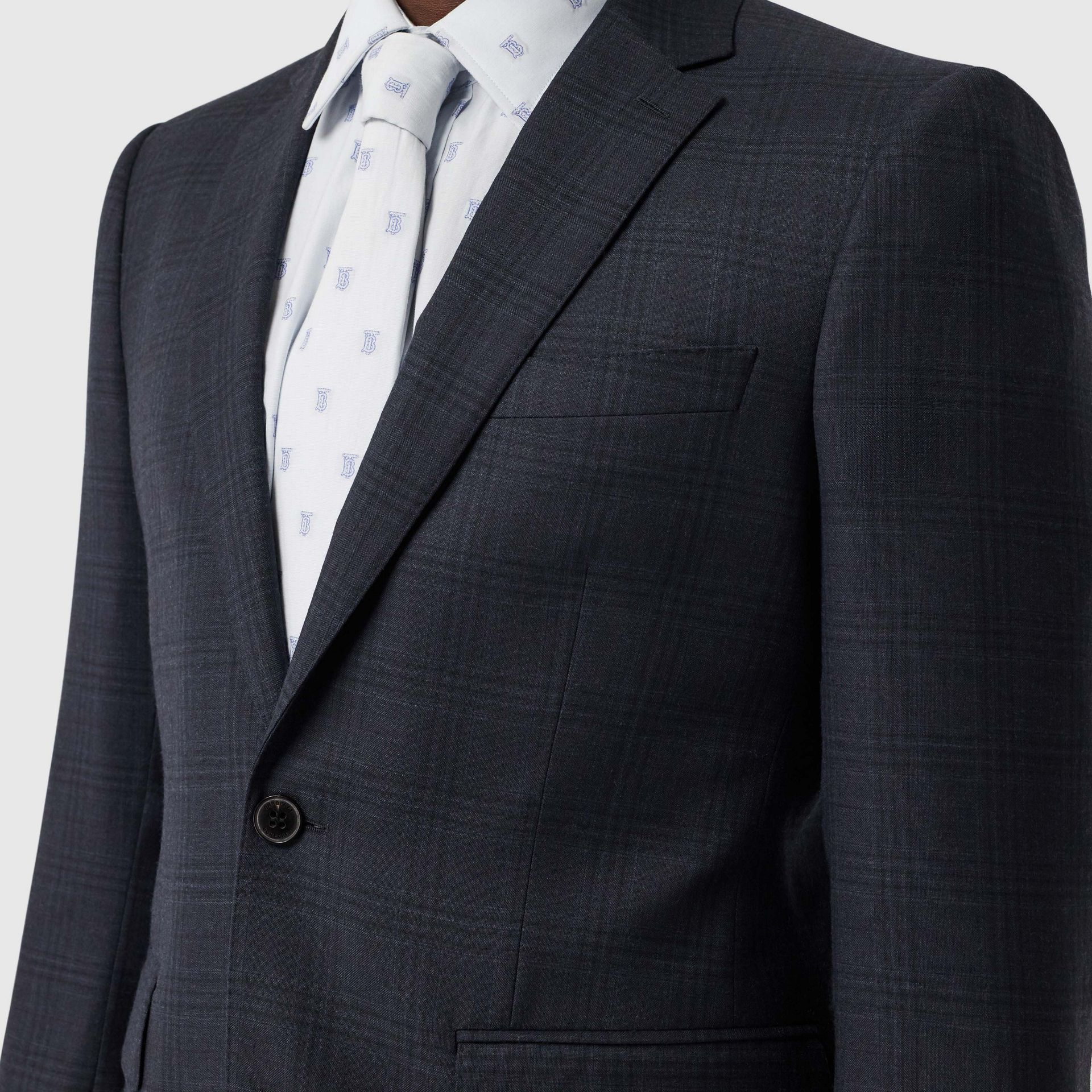 Classic Fit Windowpane Check Wool Suit in Uniform Blue - Men | Burberry Singapore - gallery image 1