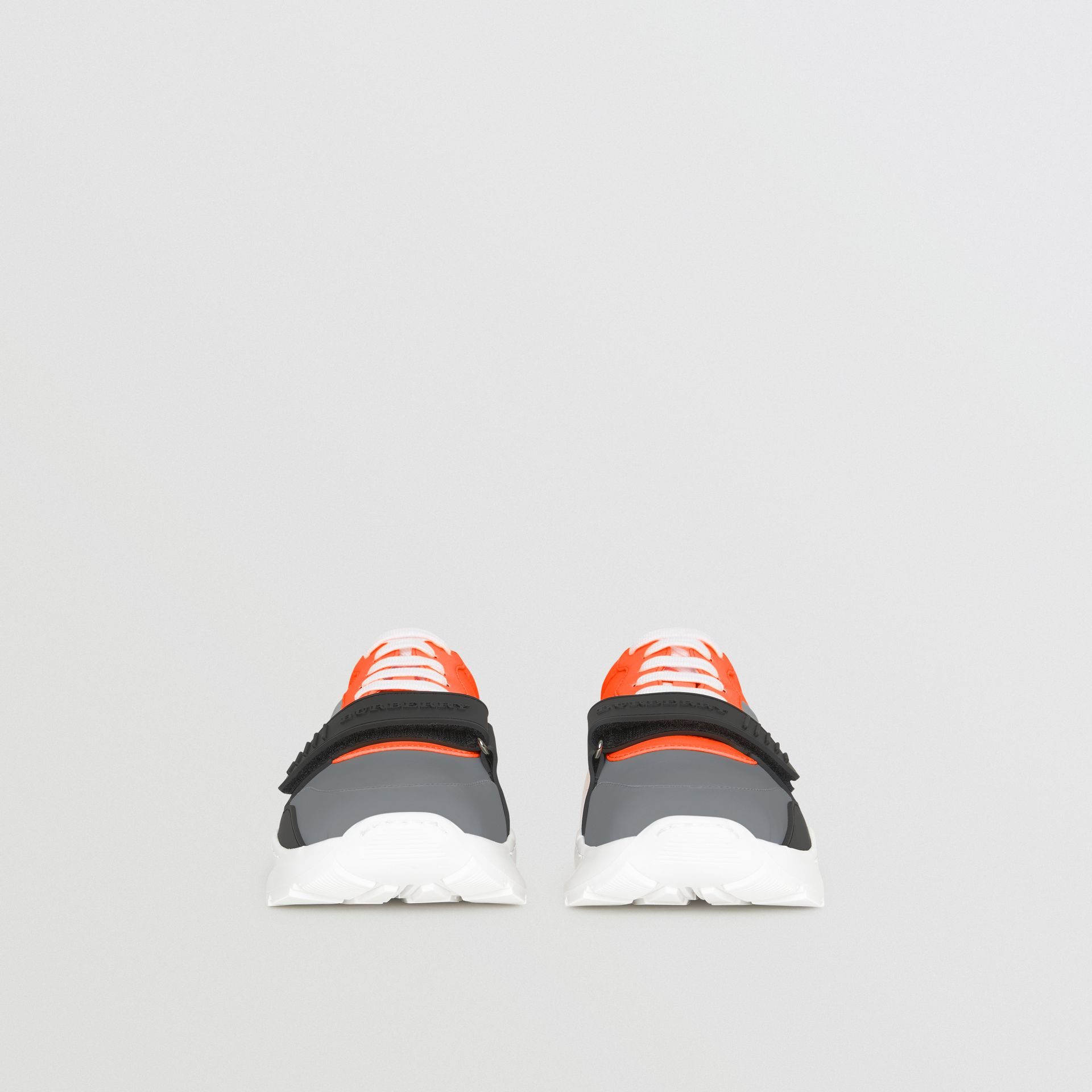 Colour Block Sneakers in Silver Grey/orange - Men | Burberry - gallery image 3