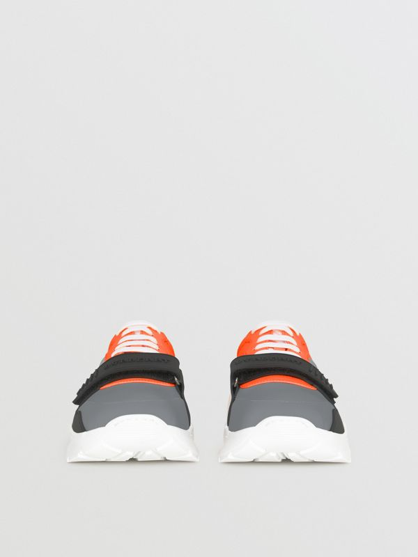 Colour Block Sneakers in Silver Grey/orange - Men | Burberry - cell image 3