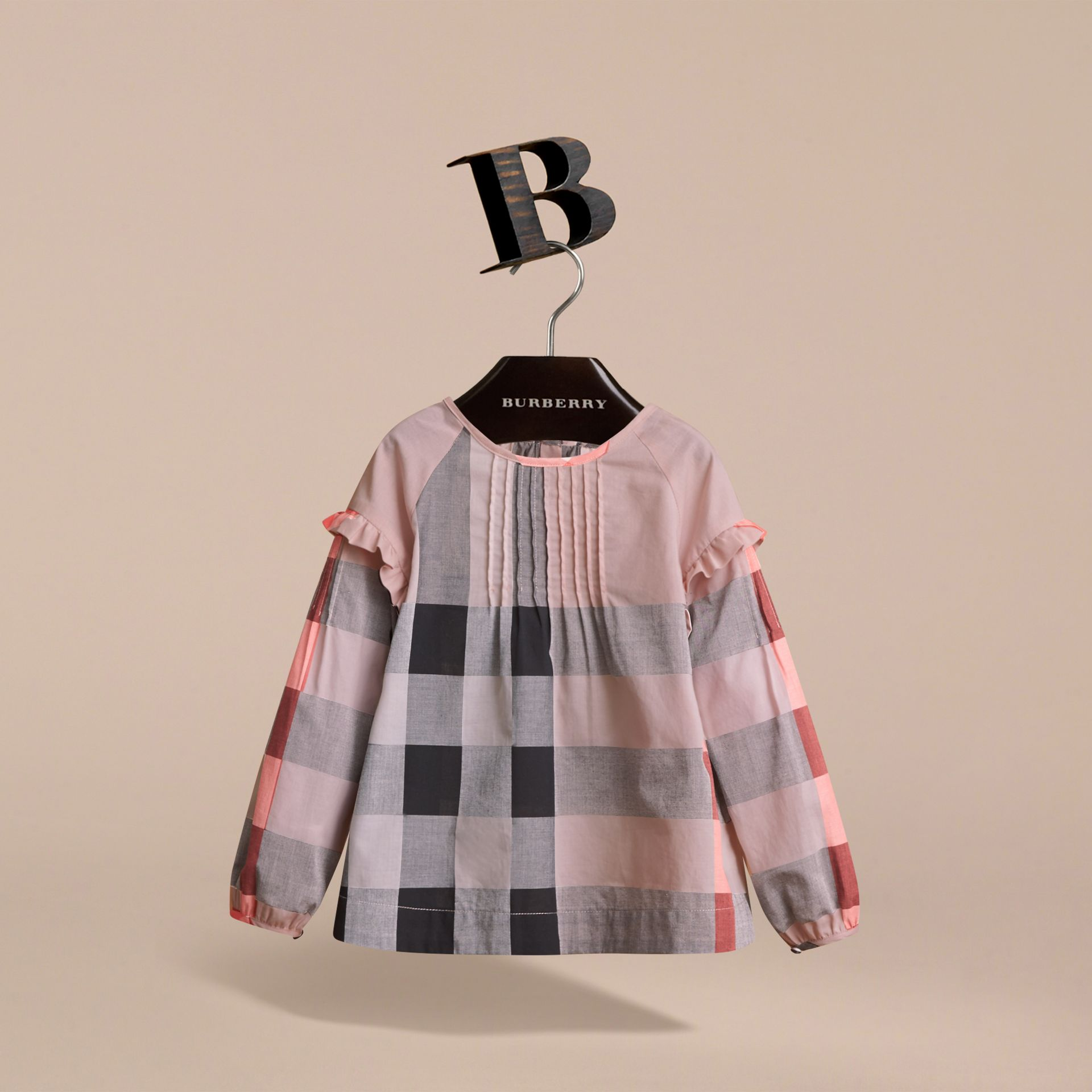 Pintuck Detail Check Cotton Top in Vintage Pink - Girl | Burberry - gallery image 3