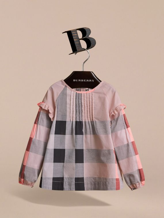 Pintuck Detail Check Cotton Top in Vintage Pink - Girl | Burberry - cell image 2