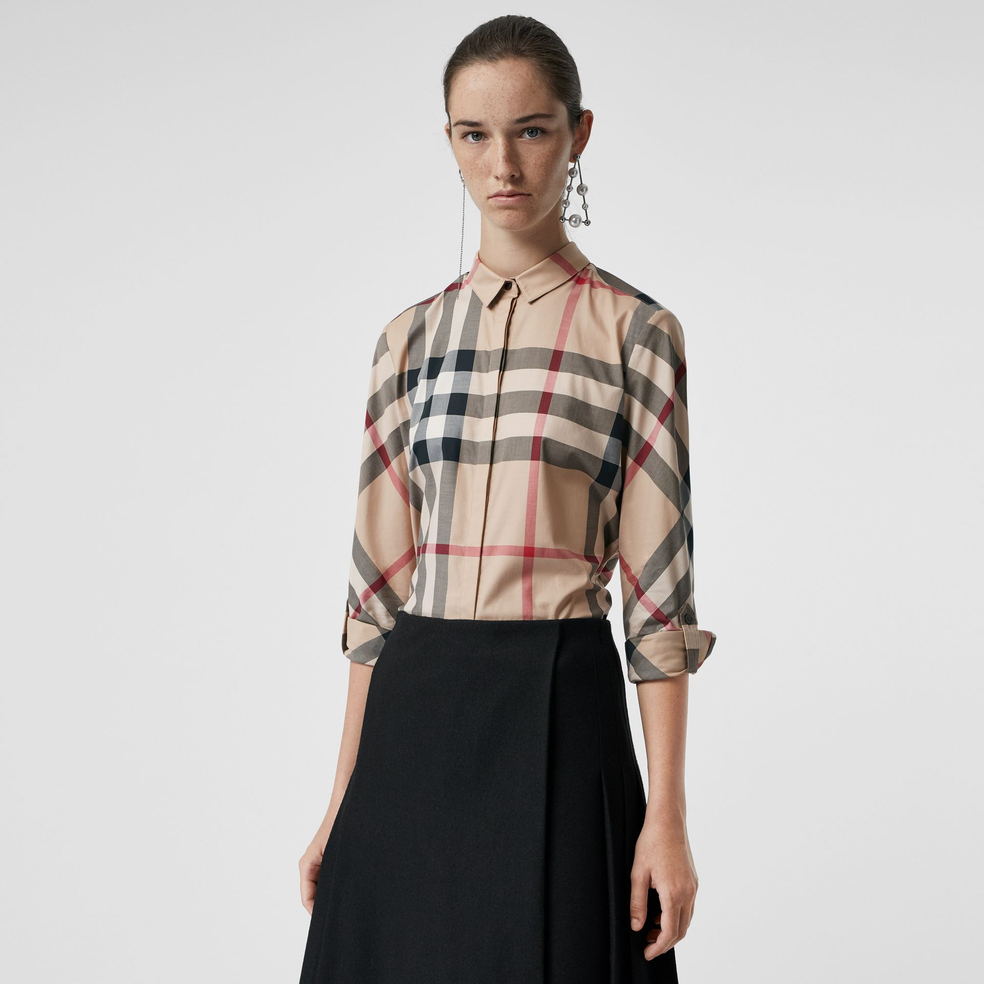 Stretch-Cotton Check Shirt in New Classic - Women | Burberry United Kingdom - gallery image 0