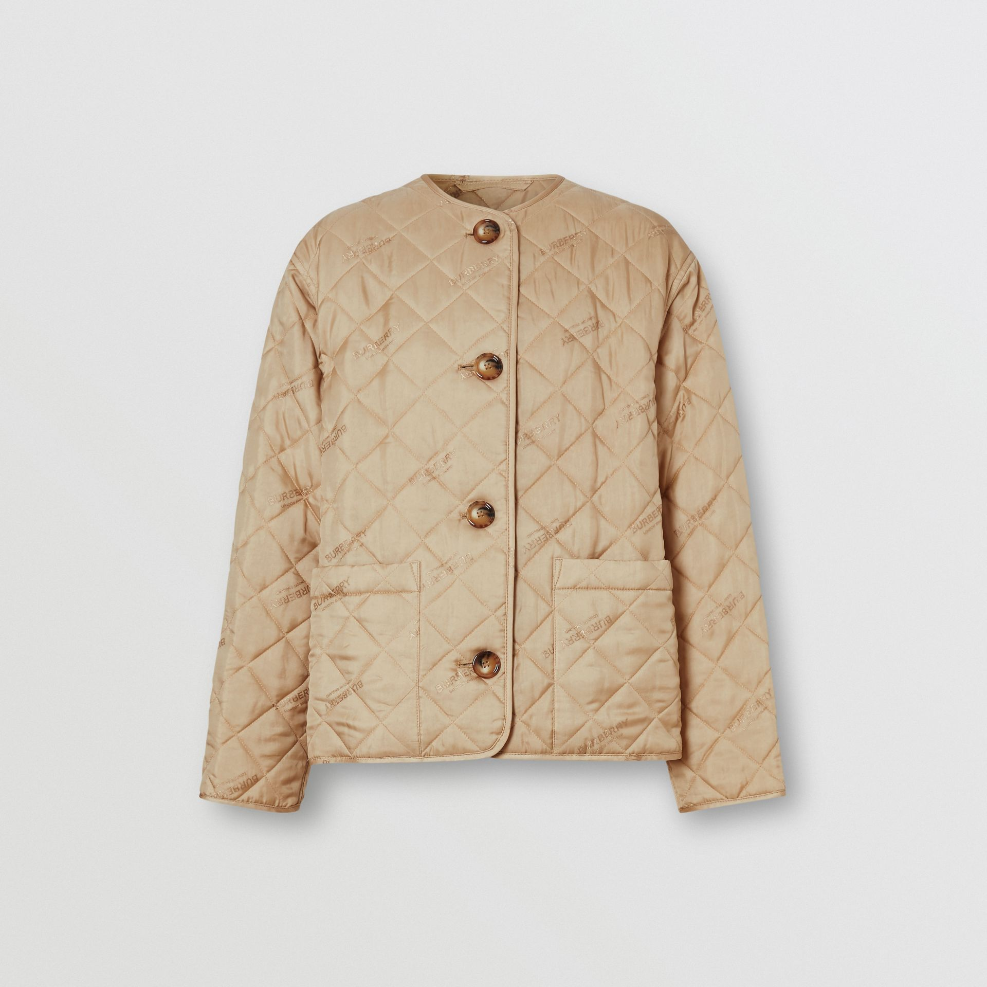 Logo Jacquard Diamond Quilted Jacket in Ecru - Women | Burberry United Kingdom - gallery image 3