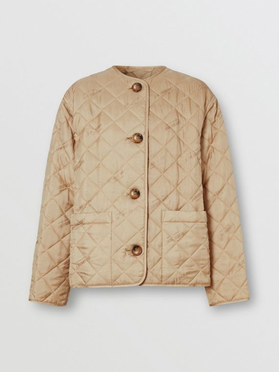 Logo Jacquard Diamond Quilted Jacket in Ecru