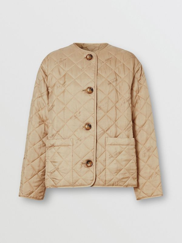 Logo Jacquard Diamond Quilted Jacket in Ecru - Women | Burberry United Kingdom - cell image 3