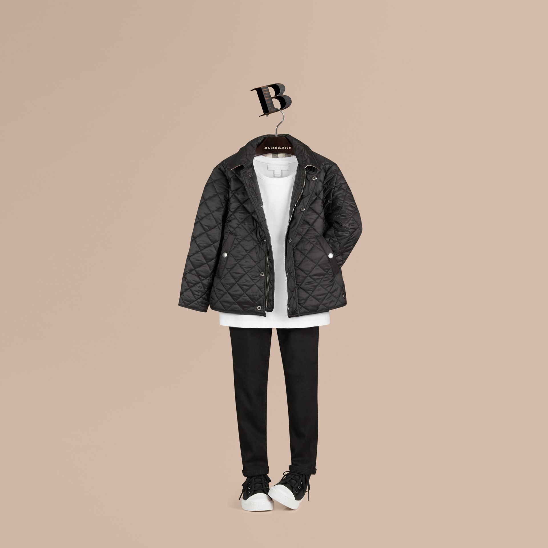 Diamond Quilted Jacket in Black - Boy | Burberry - gallery image 1