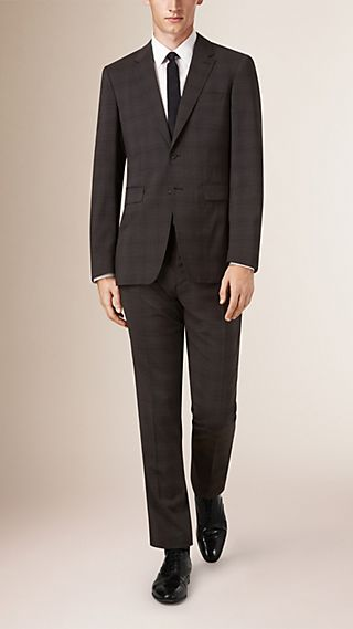Modern Fit Travel Tailoring Check Wool Suit