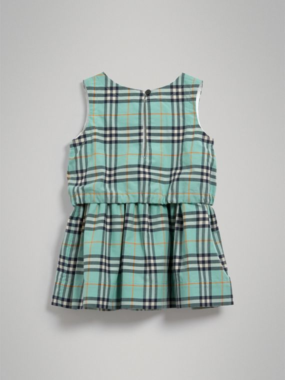 Gathered Check Cotton Dress in Bright Aqua | Burberry - cell image 3