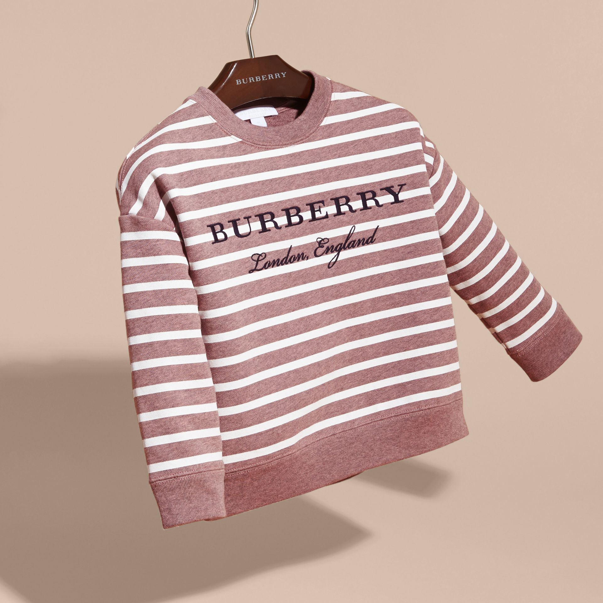 Striped Cotton Sweatshirt in Pink Azalea Melange - gallery image 3