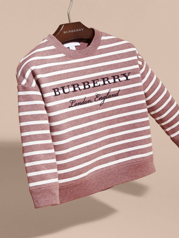 Striped Cotton Sweatshirt in Pink Azalea Melange - Girl | Burberry - cell image 2