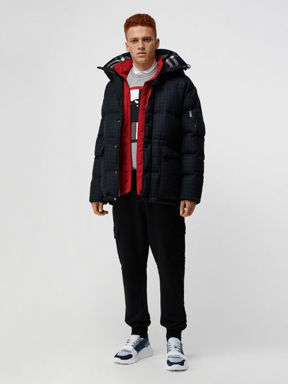 Check Wool Down-filled Hooded Jacket in Navy