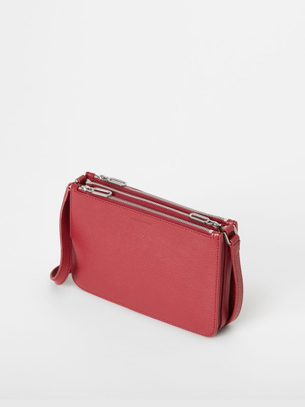 Triple Zip Grainy Leather Crossbody Bag in Crimson - Women | Burberry - cell image 2