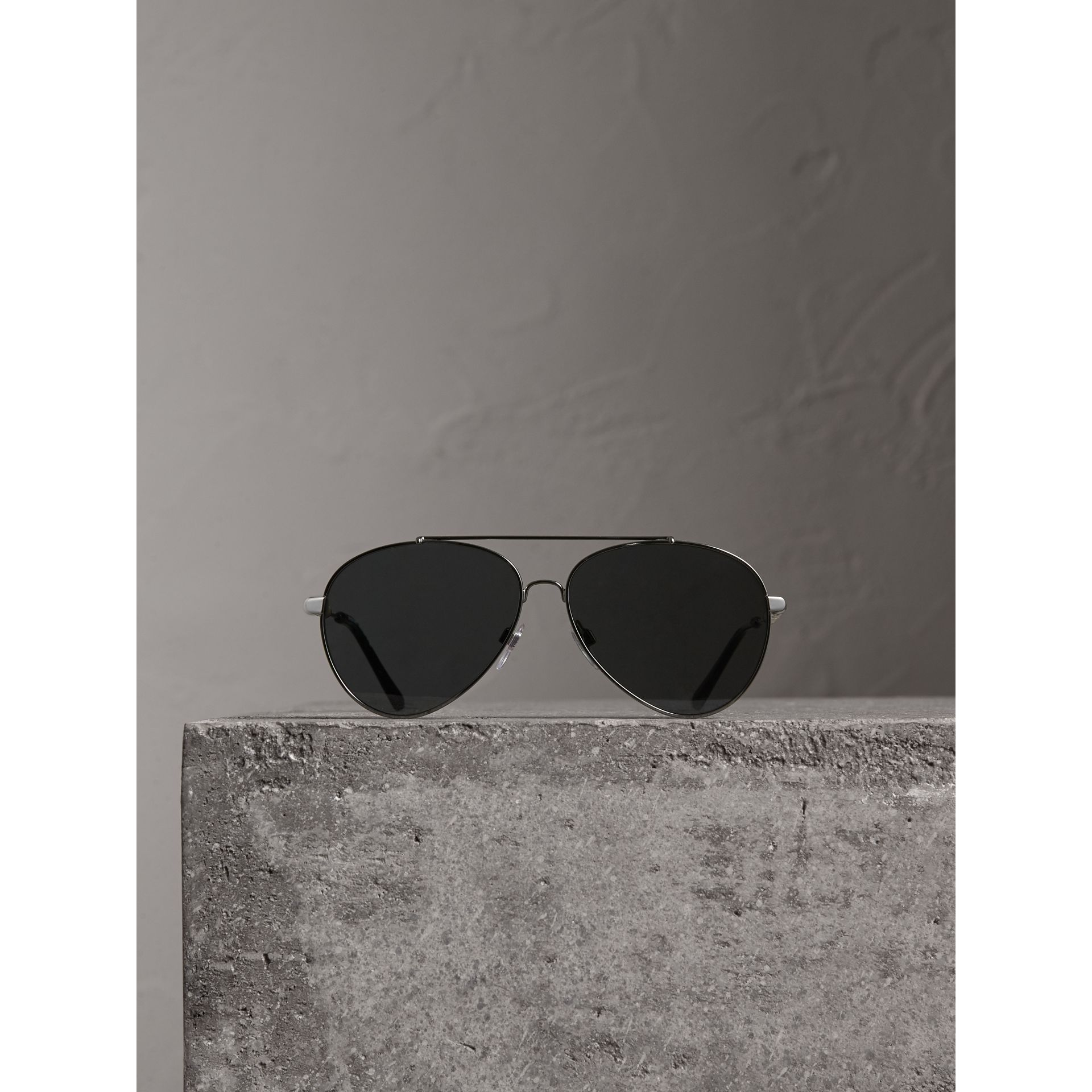 Check Detail Pilot Sunglasses in Black - Women | Burberry - gallery image 3