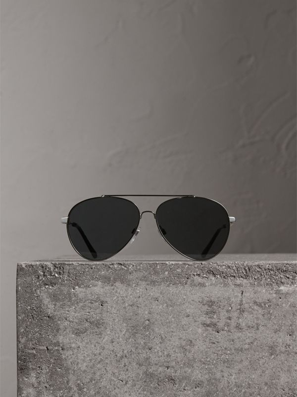 Check Detail Pilot Sunglasses in Black - Women | Burberry - cell image 3