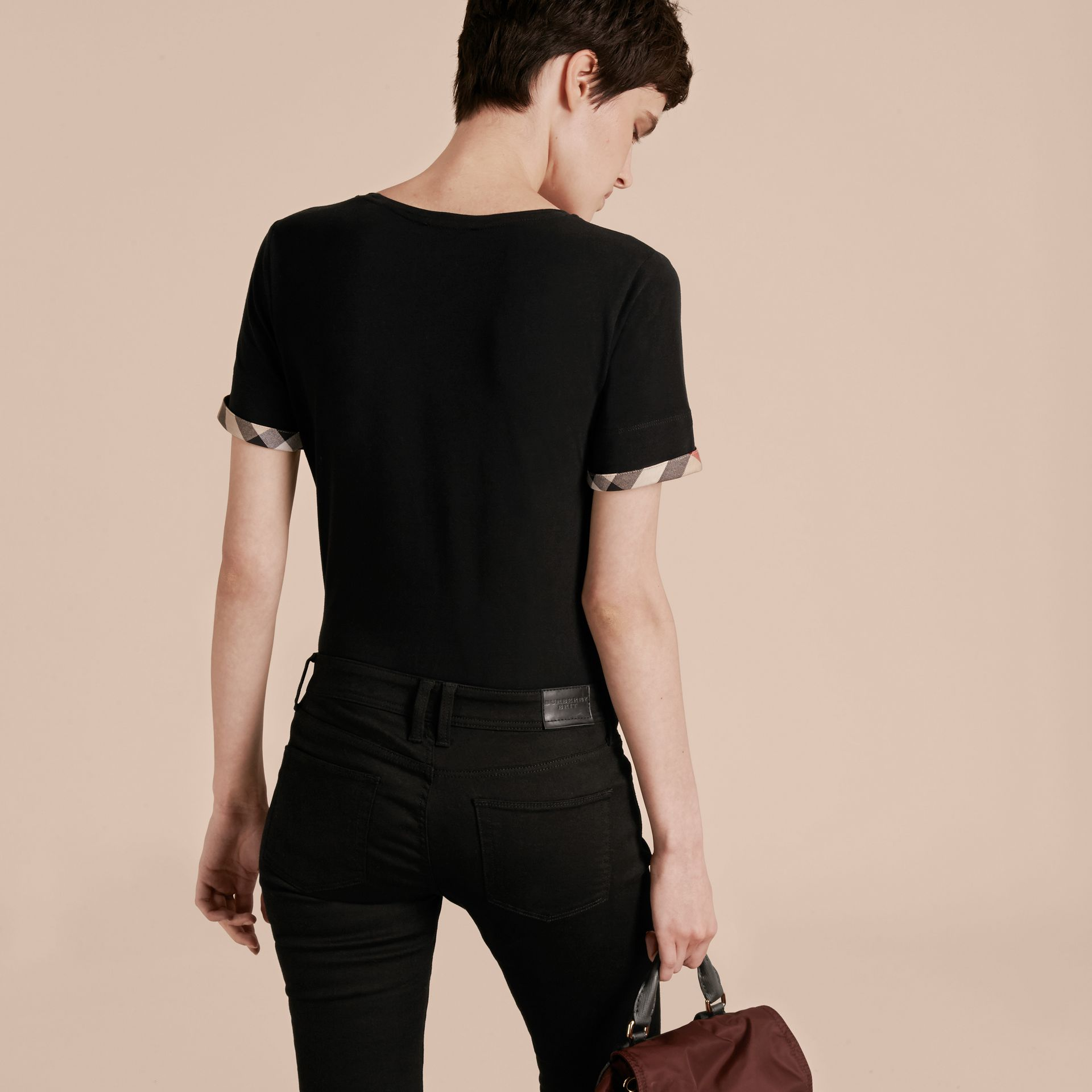 Check Cuff Stretch Cotton T-Shirt in Black - Women | Burberry - gallery image 3