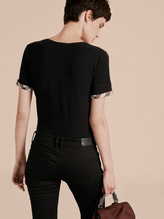 Check Cuff Stretch Cotton T-Shirt Black - cell image 2