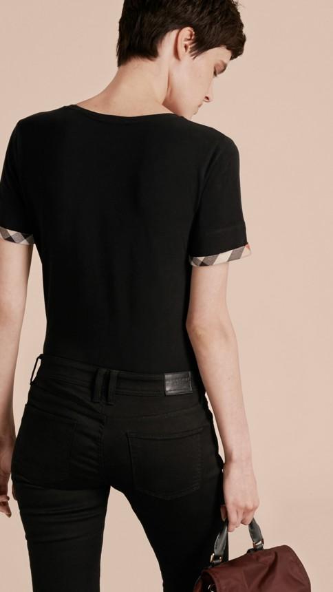 Black Check Cuff Stretch Cotton T-Shirt Black - Image 3
