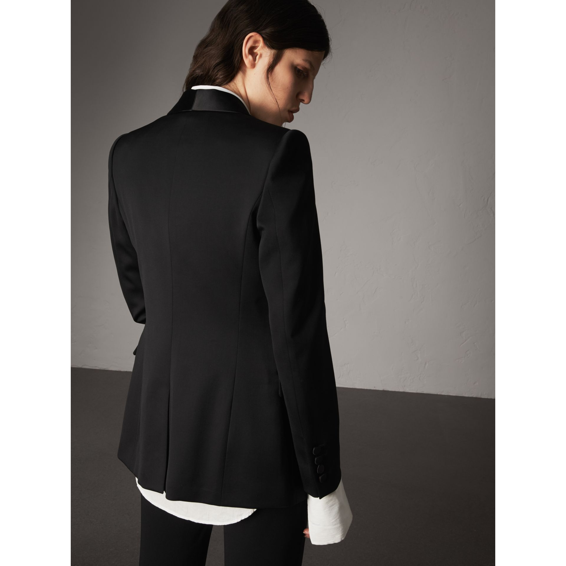 Stretch Wool Tuxedo Jacket in Black - Women | Burberry - gallery image 3