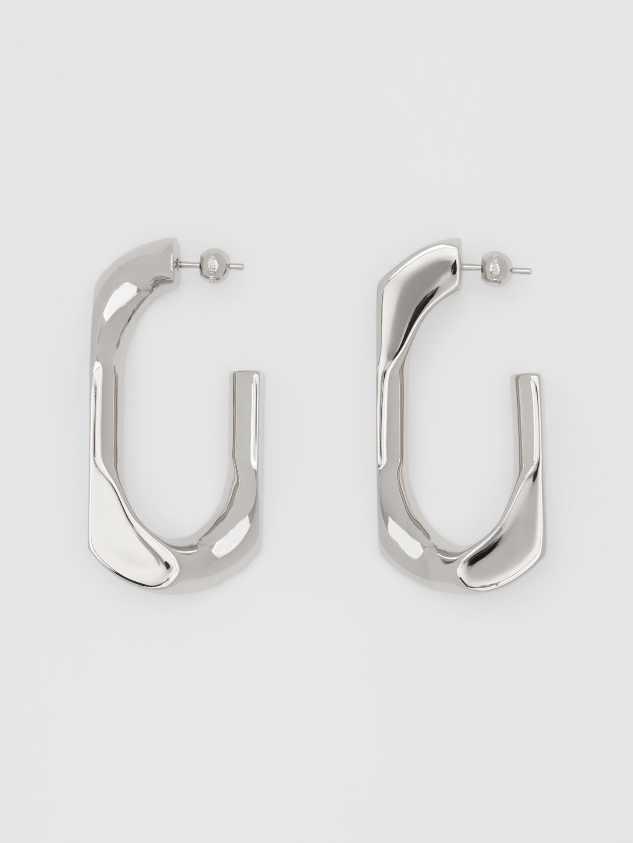 Large Palladium-plated Chain-link Earrings