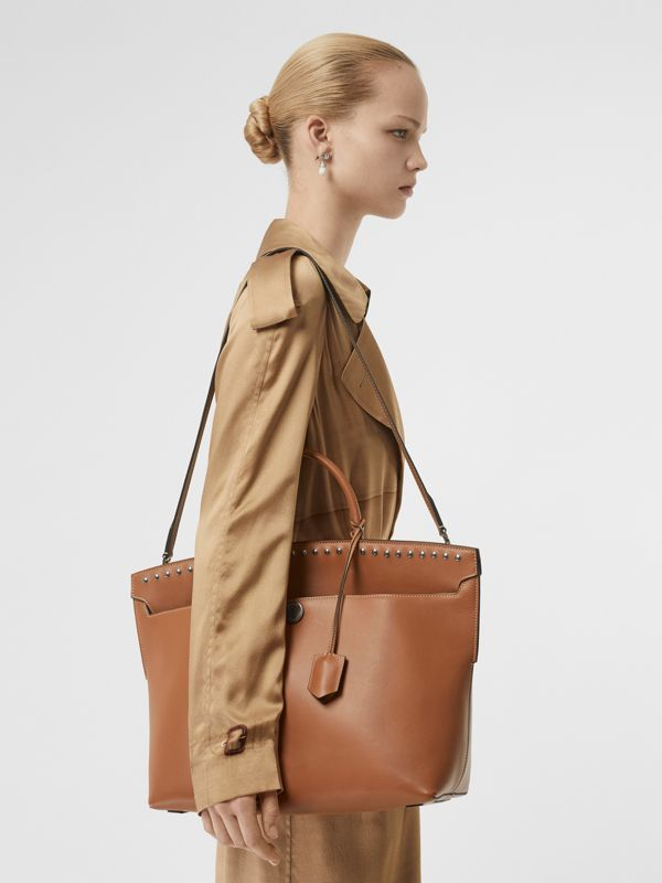 Studded Leather Society Top Handle Bag in Copper Brown - Women | Burberry - cell image 2