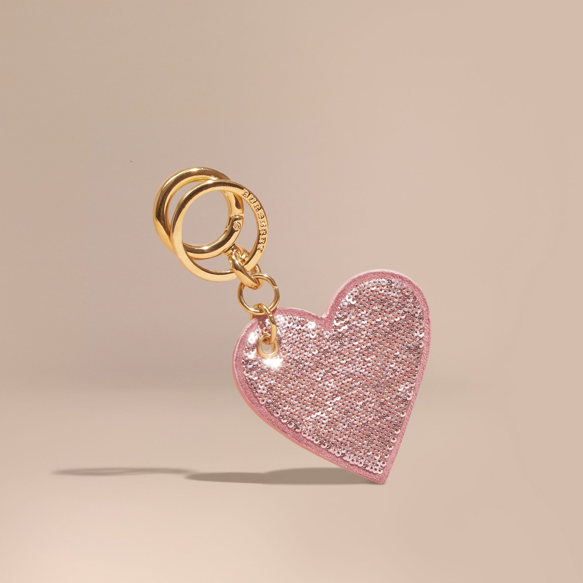 Sequinned Heart Suede Key Charm - Women | Burberry - gallery image 2