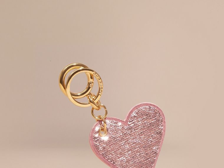 Sequinned Heart Suede Key Charm - Women | Burberry - cell image 1