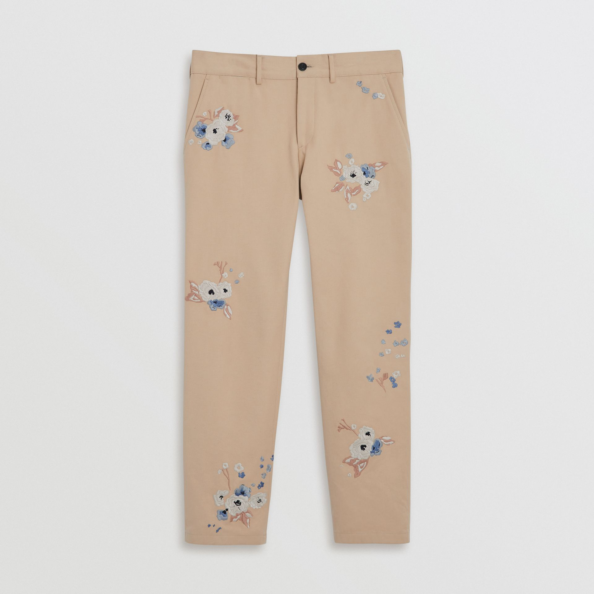 Slim Fit Floral Embroidered Cotton Chinos in Stone - Men | Burberry Australia - gallery image 3
