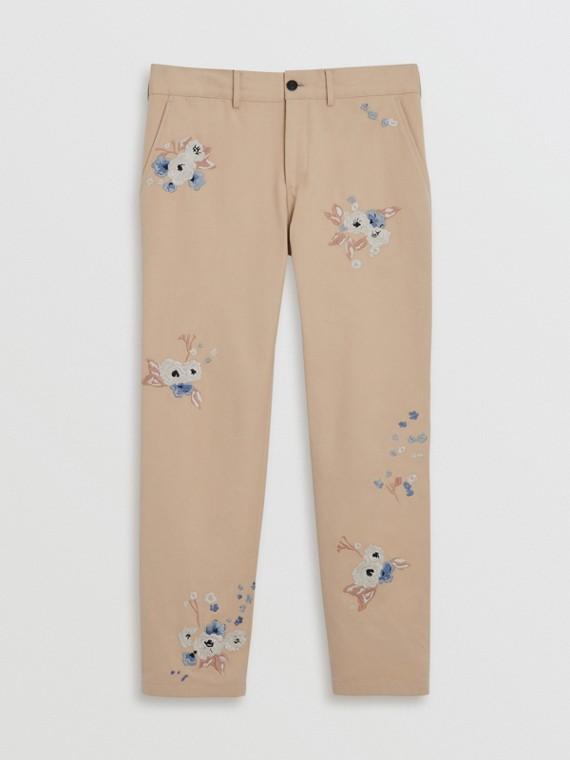 Pantalon chino slim en coton à motif floral brodé (Stone)