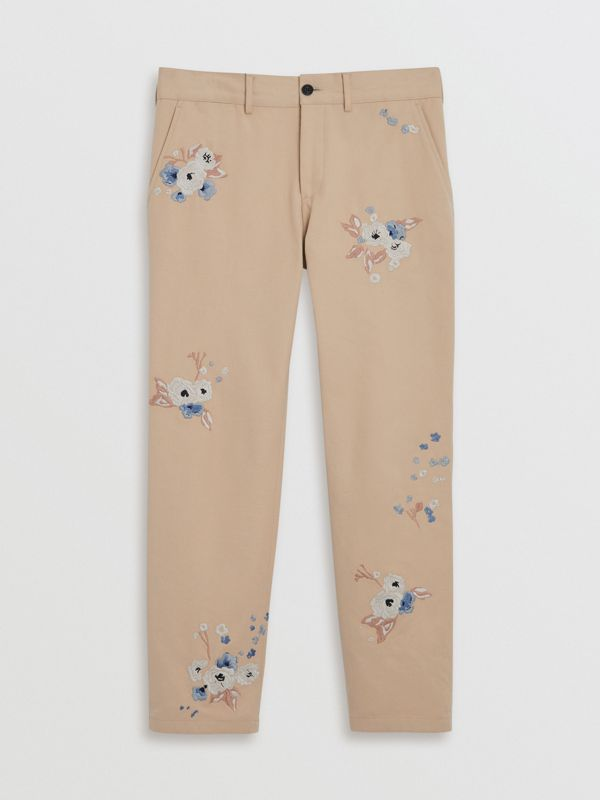 Slim Fit Floral Embroidered Cotton Chinos in Stone - Men | Burberry - cell image 3