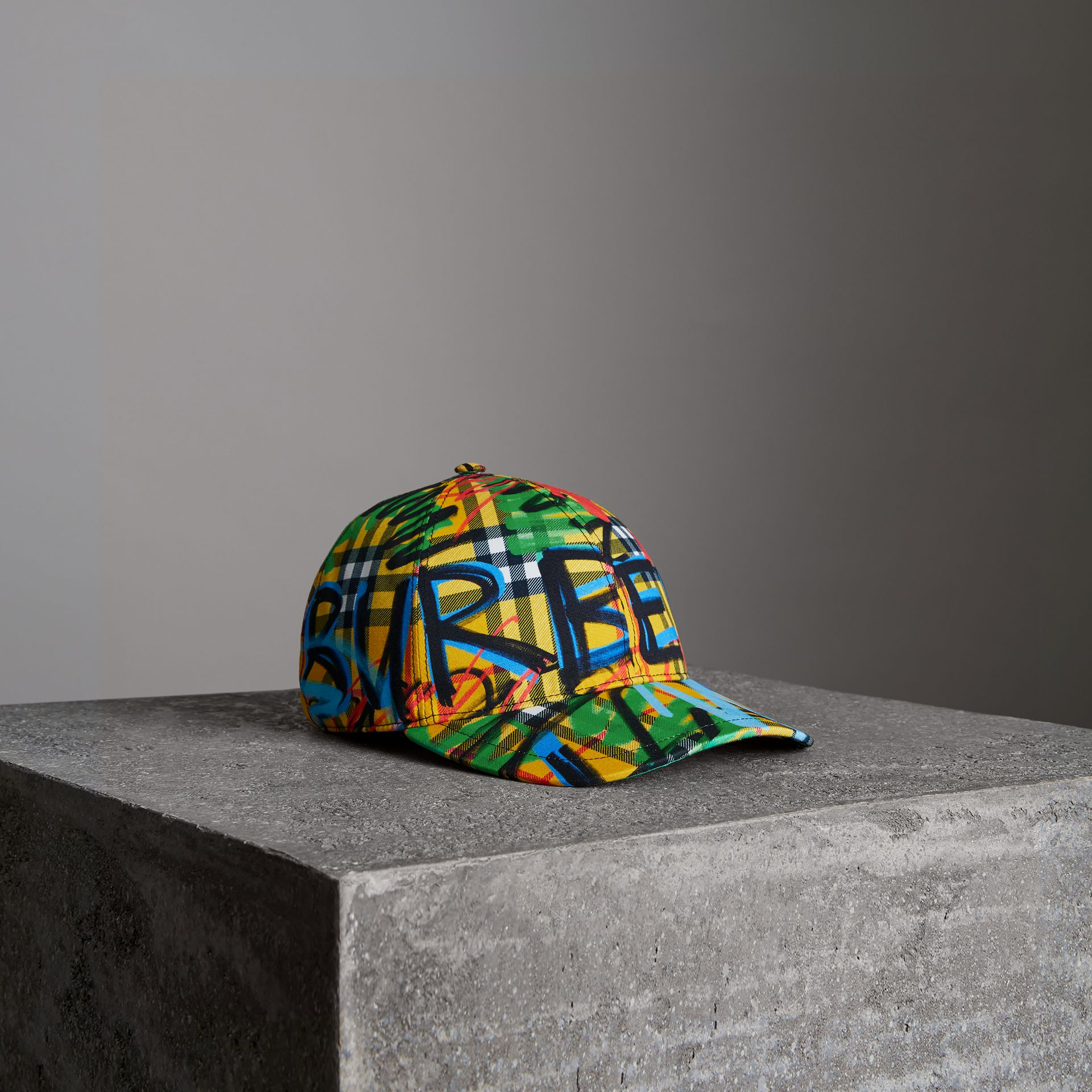 Graffitied Scribble Check Baseball Cap in Amber Yellow | Burberry United States - gallery image 0