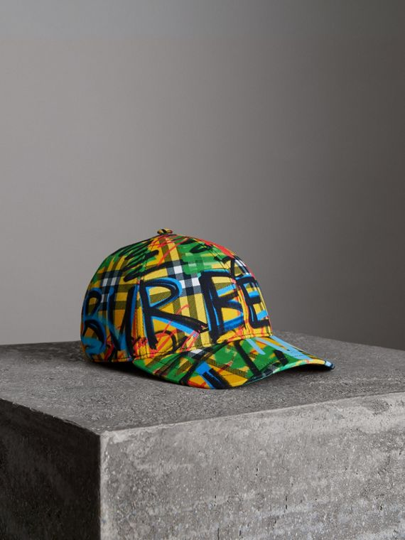 Graffitied Scribble Check Baseball Cap in Amber Yellow