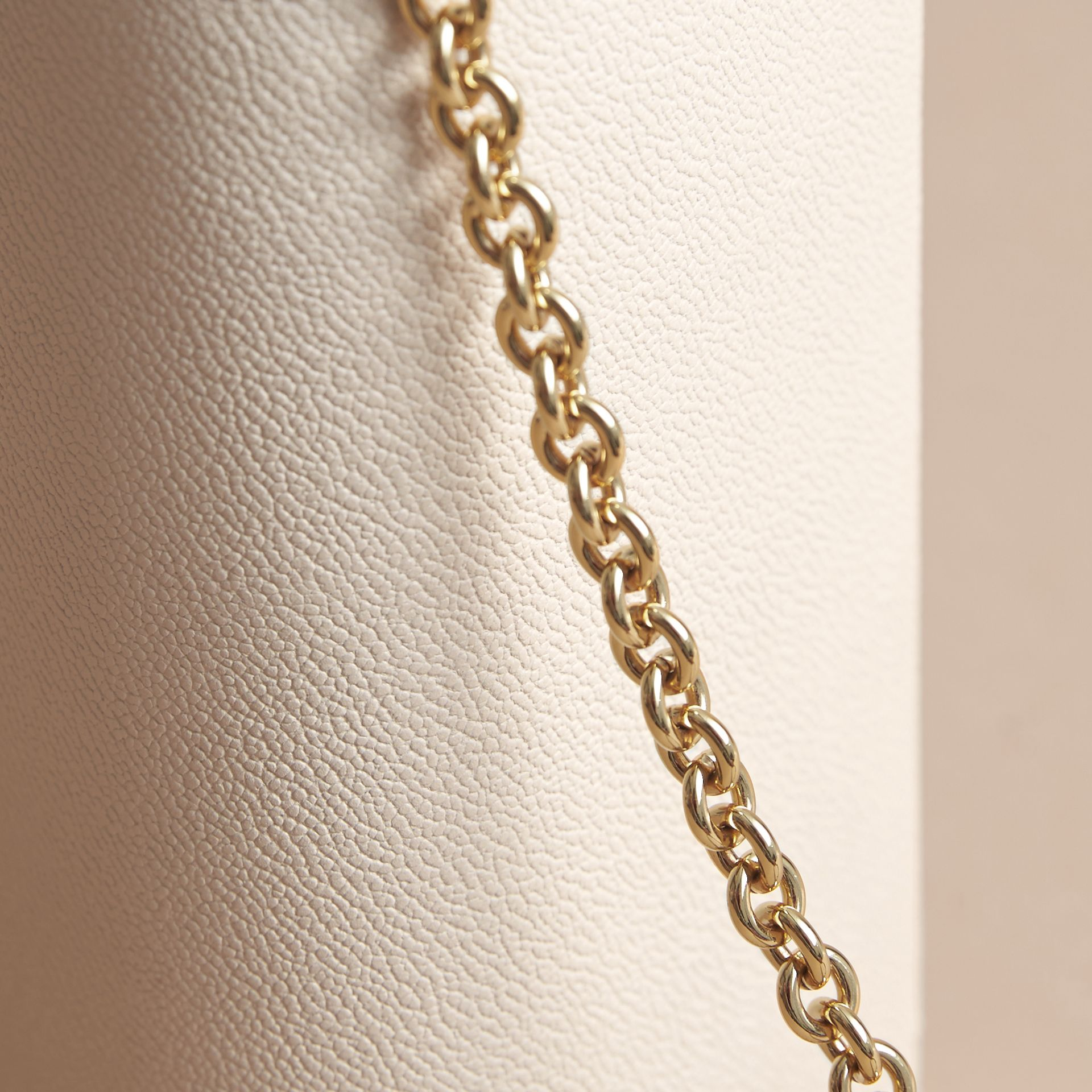 Leather Wallet with Chain in Limestone - Women | Burberry - gallery image 7